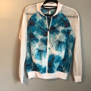 Fabletics blue floral gym jacket